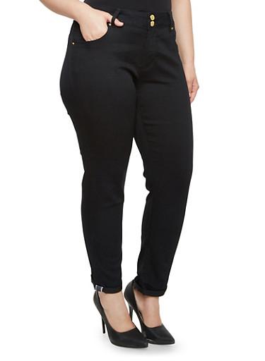 Plus Size VIP Contrast Trim Skinny Jeans,BLACK,large