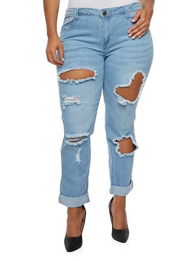 Plus Size VIP Distressed Boyfriend Jeans,LIGHT WASH,large