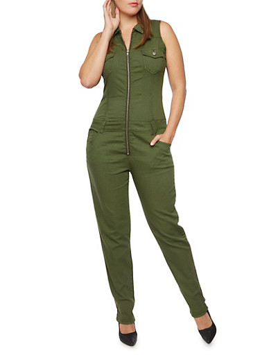 Plus Size Sleeveless Jumpsuit with Zip Front,OLIVE,large
