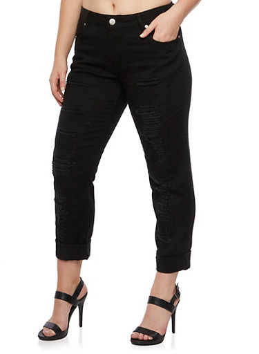 Plus Size VIP Distressed Jeans,BLACK,large