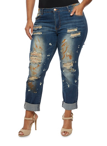 Plus Size VIP Ripped Skinny Jeans with Paint Splatters,DARK WASH,large