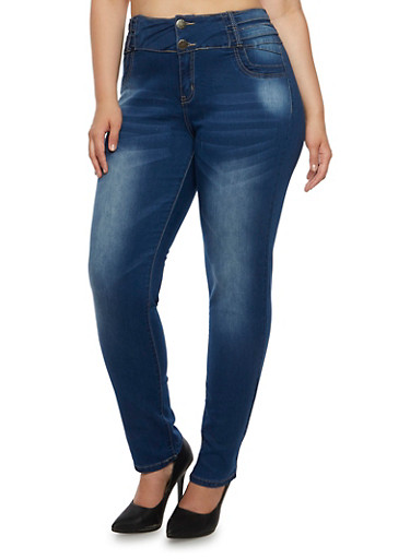 Plus Size VIP Jeans with High Waist and Stretch,MEDIUM WASH,large