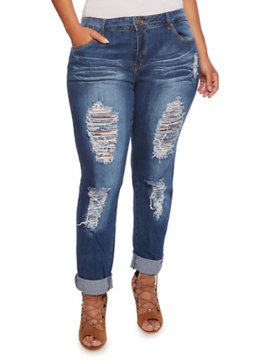 Plus Size VIP Distressed Jeans,MEDIUM WASH,large