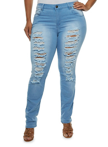 Plus Size VIP Distressed Skinny Jeans with Faded Accents,LIGHT WASH,large
