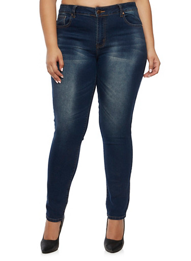 Plus Size VIP Jeans,DARK WASH,large