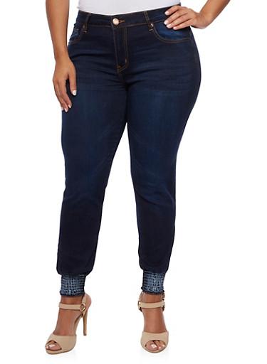 Plus Size VIP Skinny Jeans with Smocked Hem,DARK WASH,large