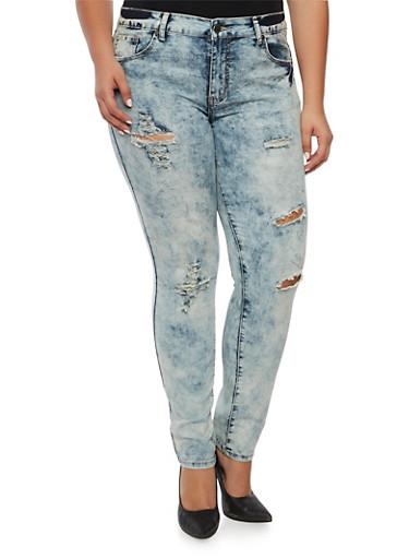 Plus Size VIP Acid Wash Skinny Jeans,ACID,large