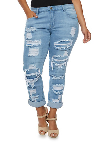 Plus Size VIP Skinny Jeans with Shredded Patchwork Detail,LIGHT WASH,large