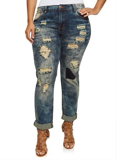 Plus Size VIP Vintage Wash Ripped Skinny Jeans,ANTIQUE,large
