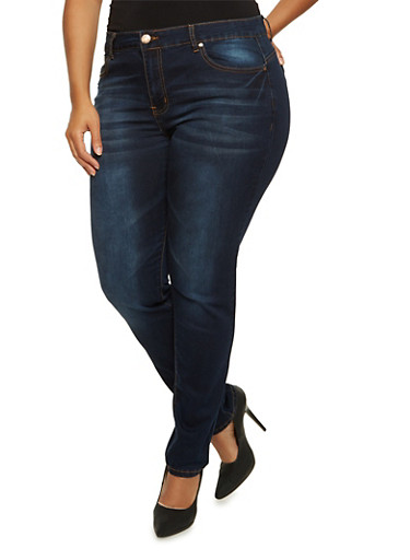 Plus Size VIP Skinny Jeans,DARK WASH,large