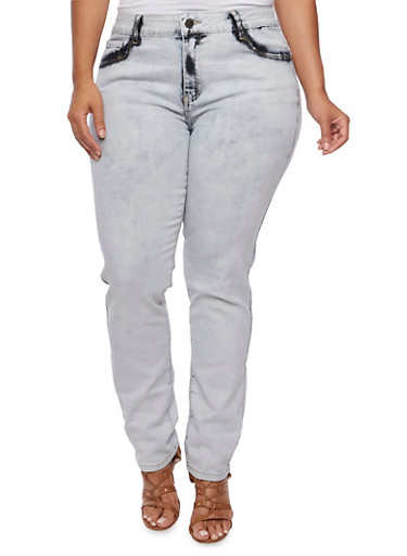 Plus Size VIP Acid Wash Jeans,GRAY,large