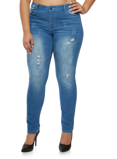 Plus Size VIP Distressed Skinny Jeans in Light Wash,LIGHT WASH,large