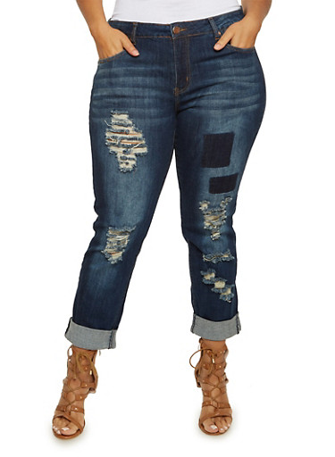 Plus Size VIP Ripped Skinny Jeans with Faded Patches,DARK WASH,large