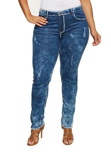 Plus Size VIP Stretch Jeans,MEDIUM WASH,large