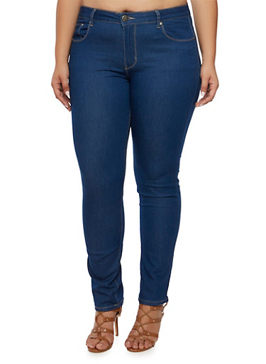 Plus Size VIP Skinny Jeans,BLUE,large
