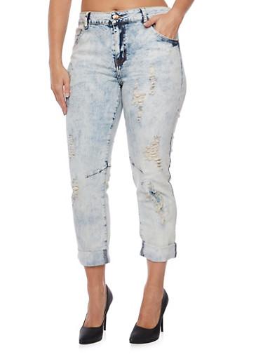 Plus Size VIP Acid Wash Boyfriend Jeans,LIGHT WASH,large