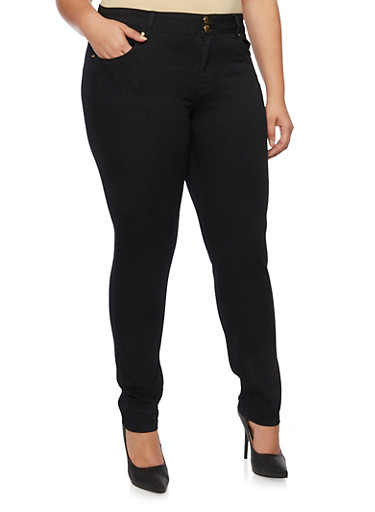 Plus Size VIP Skinny Jeans with Double Buttons,BLACK,large