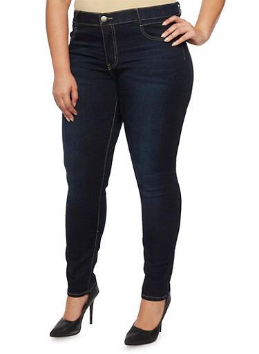 Plus Size VIP Skinny Jeans with Elastic Waist,DARK WASH,large