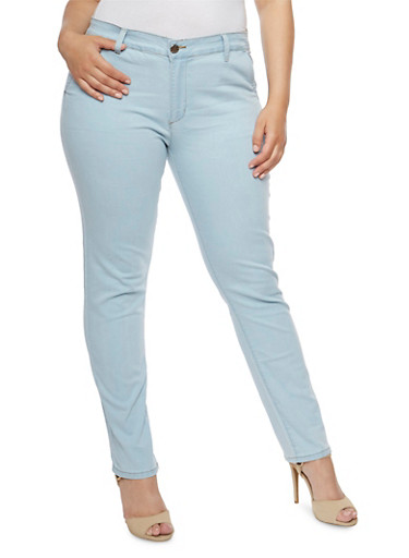 Plus Size VIP Light Wash Skinny Jeans,LIGHT WASH,large