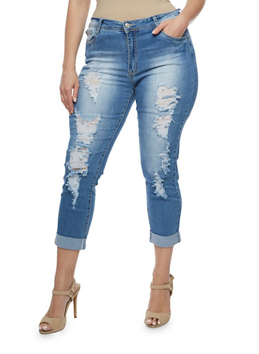 Plus Size Destroyed Roll Cuff Skinny Jeans,MEDIUM WASH,large