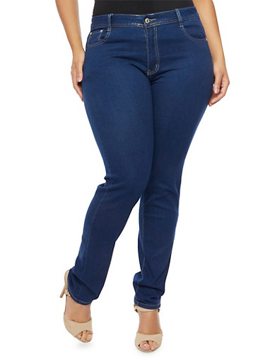 Plus Size Classic Skinny Jeans,DARK WASH,large