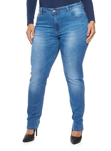 Plus Size Skinny Jeans,MEDIUM WASH,large