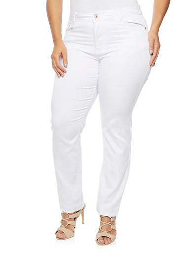 Plus Size Jeans in Slim Fit,WHITE,large