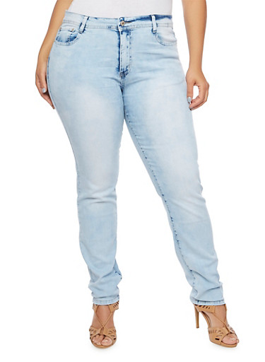 Plus Size Classic Skinny Jeans,LIGHT WASH,large