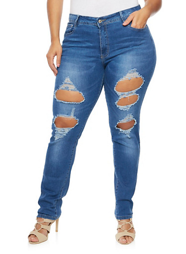Plus Size Stretch Jeans with Distressed Front,MEDIUM WASH,large