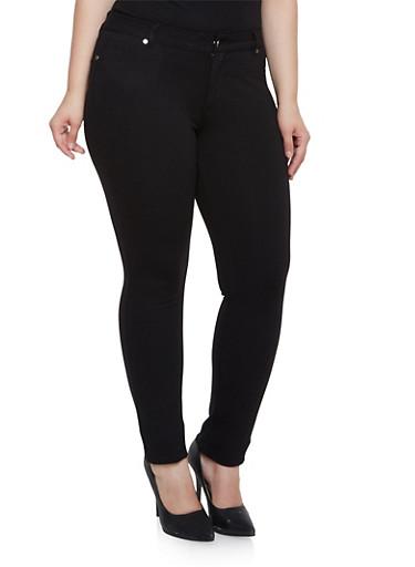 Plus Size Stretch Fit Pants,BLACK,large
