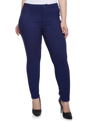 Plus Size Skinny Pants in Stretch Twill,NAVY,large