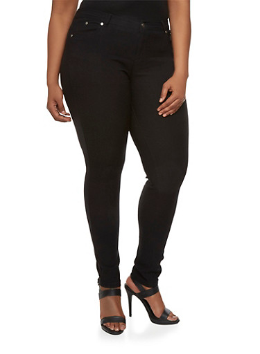 Plus Size Stretch Five Pocket Pants,BLACK,large