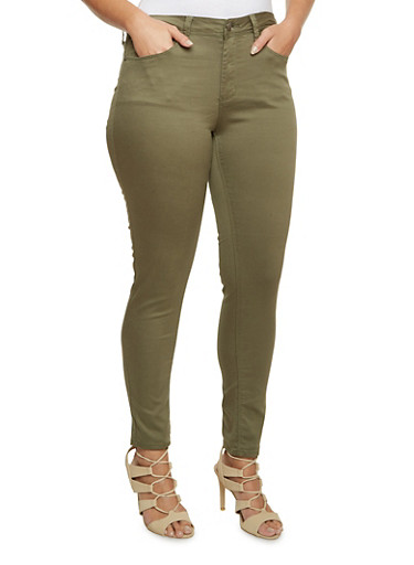 Plus Size Stretch Skinny Jeans,OLIVE,large
