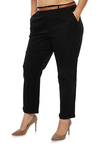 Plus Size Twill Pants with Faux Leather Belt,BLACK,large