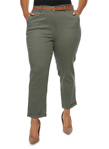 Plus Size Twill Pants with Faux Leather Belt,OLIVE,large