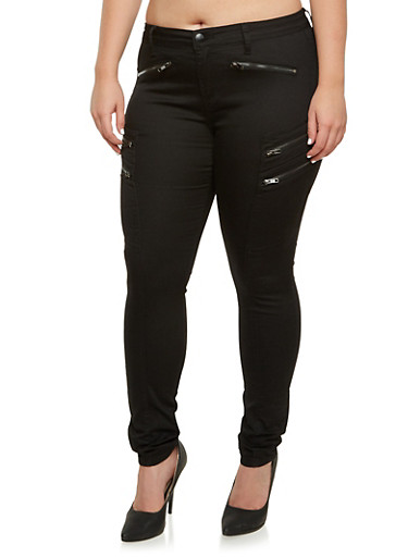 Plus Size Skinny Pants with Zipper Detail,BLACK,large