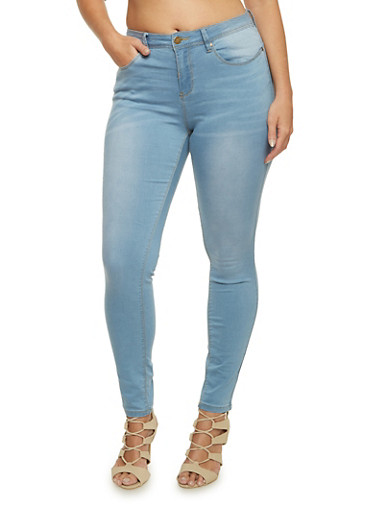 Plus Size Stretch Jeans with Light Distressing,LIGHT WASH,large