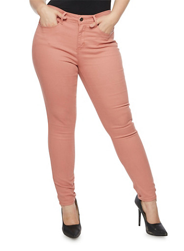 Plus Size Colored Skinny Jeans,MAUVE,large
