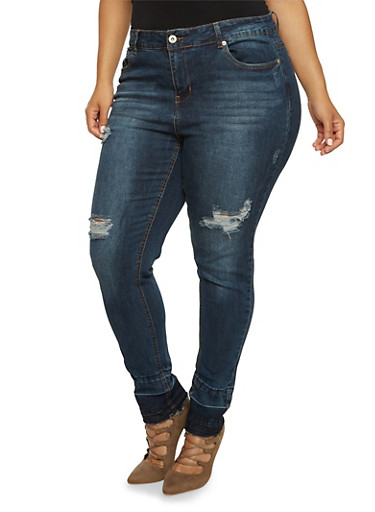 Plus Size Highway Skinny Jeans with Released Hem,DARK WASH,large