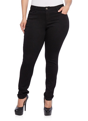 Plus Size WAX Jeans in Skinny Fit,BLACK DENIM,large