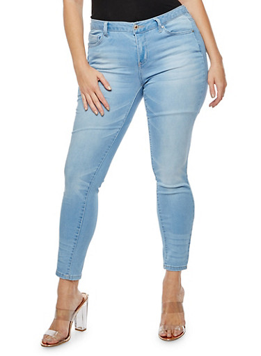 Plus Size WAX Whisker Wash Stretch Jeans,LIGHT WASH,large