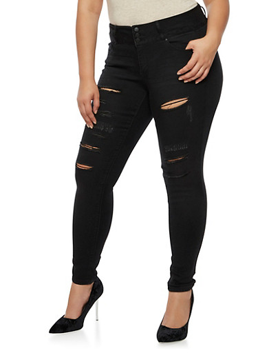 Plus Size WAX Push Up Ripped Jeans at Rainbow Shops in Jacksonville, FL | Tuggl