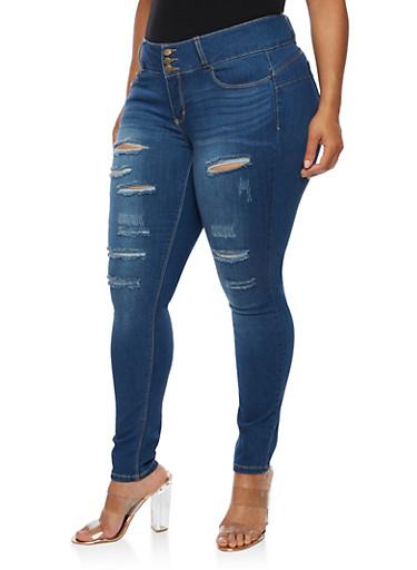 Plus Size WAX Push Up Ripped Jeans,MEDIUM WASH,large