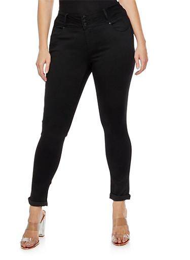 Plus Size 3 Button Push Up Jeans,BLACK,large