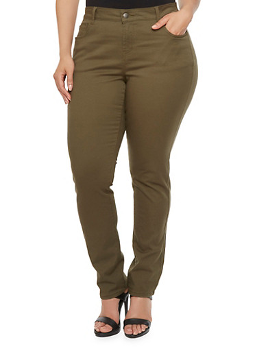 Plus Size WAX Colored Skinny Jeans,OLIVE,large