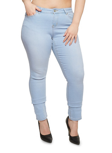 Plus Size WAX Classic Skinny Jeans,LIGHT WASH,large