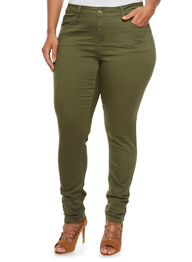 Plus Size Wax Jeans with Classic Five Pocket Design,OLIVE,large
