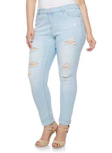 Plus Size WAX Distressed Skinny Jeans with Rolled Cuffs,LIGHT WASH,large