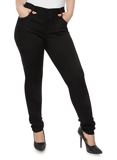 Plus Size WAX Skinny High Waist Jeans,BLACK,large