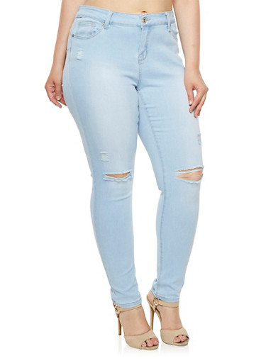 Plus Size WAX Skinny Jeans with Slash Cut Knees,LIGHT WASH,large